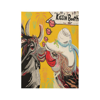 COW KISS WOOD POSTER