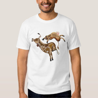 Cow leaping backwards over a bull t shirt