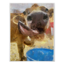 Cow Lick Painting Poster