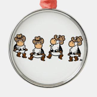 Cow Line dancin' Metal Ornament