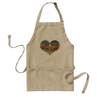 Cow Love-White Faced Cow with Herd of Red Cows Adult Apron