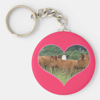 Cow Love-White Faced Cow with Herd of Red Cows Keychain