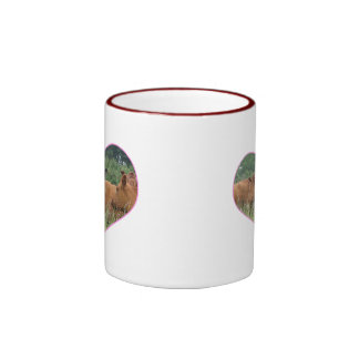 Cow Love-White Faced Cow with Herd of Red Cows Ringer Coffee Mug