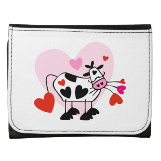 Cow Lover Leather Tri-fold Wallet