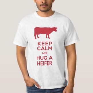 Cow Lover's Dairy Farm Keep Calm Hug a Heifer Tee Shirt