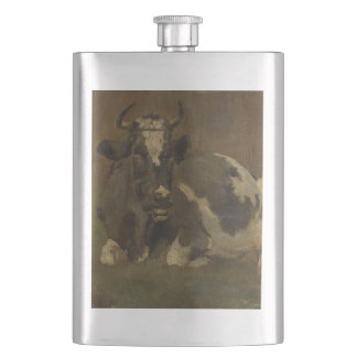 Cow lying down painting, Anton Mauve Flask
