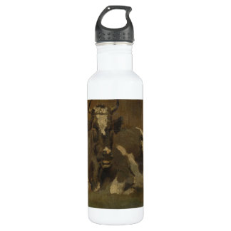 Cow lying down painting, Anton Mauve Stainless Steel Water Bottle