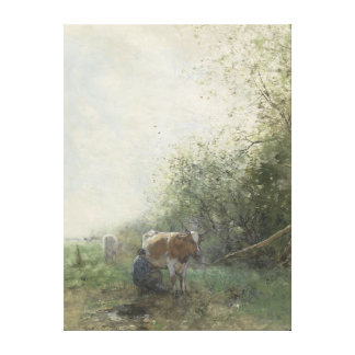 Cow milking, Willem Maris Gallery Wrapped Canvas