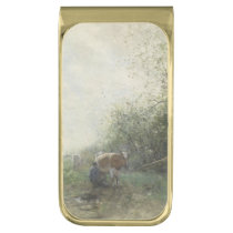 Cow milking, Willem Maris Gold Finish Money Clip