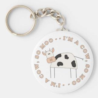 Cow Moo Basic Round Button Keychain