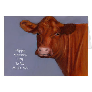 Cow Mother's Day Card, Humor, Original Art, Moo-ma Card