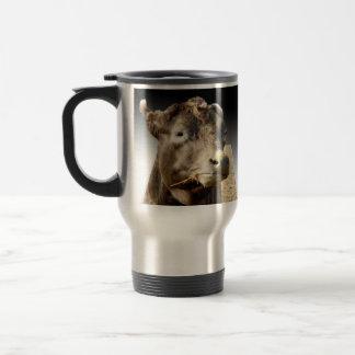 Cow Munching On Hay, Travel Mug
