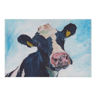 Cow No 01. 0254 Irish Friesian Cow Poster