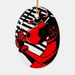 Cow Noir Double-Sided Oval Ceramic Christmas Ornament