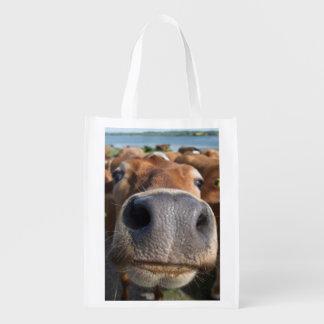Cow Nose Closeup Reusable Grocery Bag