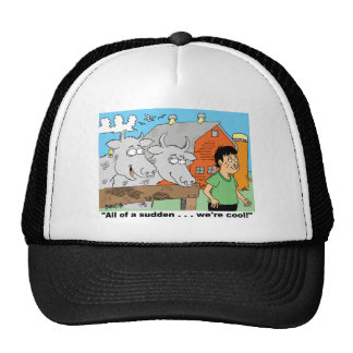COW / NOSE RING / FARMER CARTOON GIFTWARE TRUCKER HAT