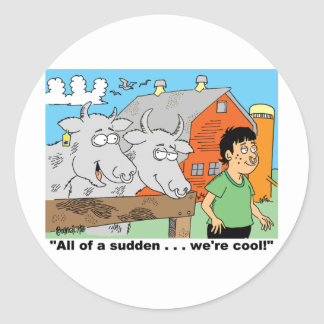 COW / NOSE RING / FARMER KID CARTOON GIFTWARE CLASSIC ROUND STICKER