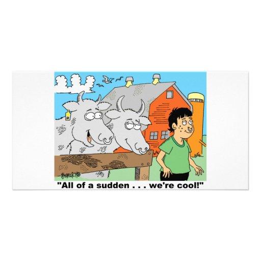 COW / NOSE RING / FARMER KID CARTOON GIFTWARE CUSTOMIZED PHOTO CARD
