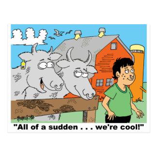 COW / NOSE RING / FARMER KID CARTOON GIFTWARE POSTCARD