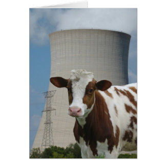 Cow & Nuclear Power Cooling Tower Greeting Card