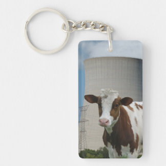 Cow & Nuclear Power Cooling Tower Key Chain