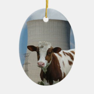 Cow & Nuclear Power Cooling Tower Tree Ornament