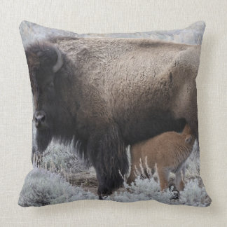 Cow Nursing Bison Calf, Yellowstone Throw Pillow