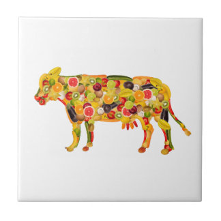 Cow of fruits and vegetables. Add your own text! Azulejo Cuadrado Pequeño