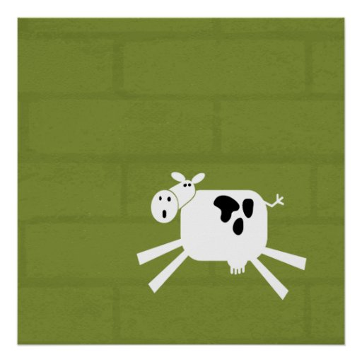 Cow on a Brick in Green Poster