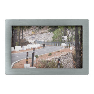 Cow on a mountain road belt buckle