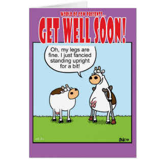 Cow on crutches card