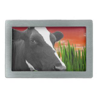 Cow On Grass & Vivid Sunset Sky Belt Buckle