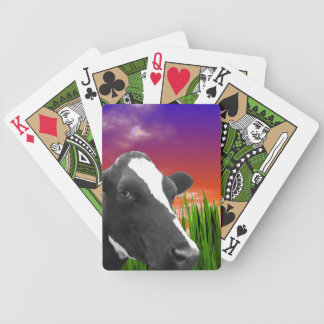 Cow On Grass & Vivid Sunset Sky Bicycle Playing Cards