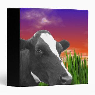 Cow On Grass & Vivid Sunset Sky 3 Ring Binder