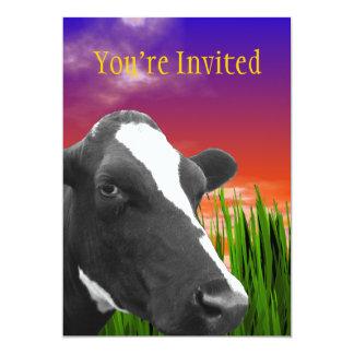 Cow On Grass & Vivid Sunset Sky Card