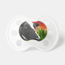 Cow On Grass & Vivid Sunset Sky Pacifier