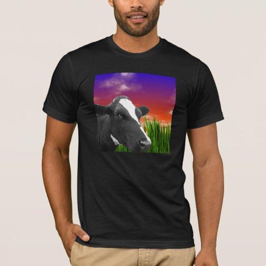 Cow On Grass & Vivid Sunset Sky T-Shirt