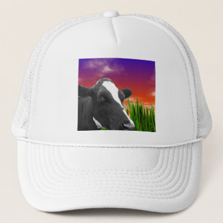 Cow On Grass & Vivid Sunset Sky Trucker Hat