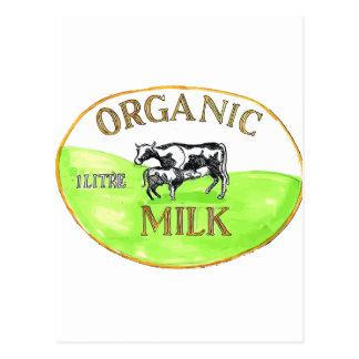 Cow Organic Milk Label Drawing Postcard