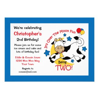 Cow Over Moon 2nd Birthday Custom Invitations