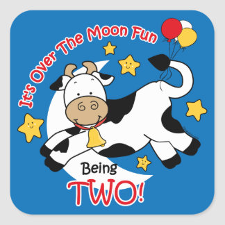 Cow Over Moon 2nd Birthday Square Sticker