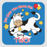 Cow Over Moon 2nd Birthday Square Stickers