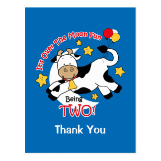 Cow Over Moon 2nd Birthday Thank You Postcard