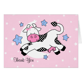 Cow Over Moon Baby Card