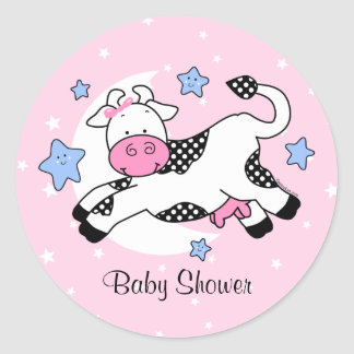 Cow Over Moon Baby Classic Round Sticker