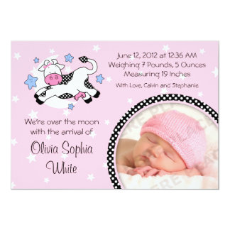 Cow Over Moon Baby Photo Birth Announcement