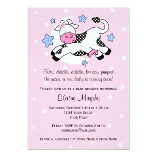 Cow Over Moon Baby Shower Invitation