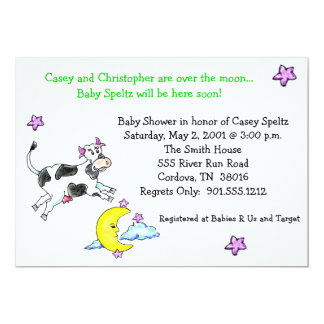 Cow Over the Moon Baby Shower Invitations