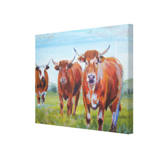 Cow Painting: 3 Ruby Red Devon Bulls Canvas Print