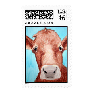 Cow Painting by Kathryn A Gainard Postage Stamp